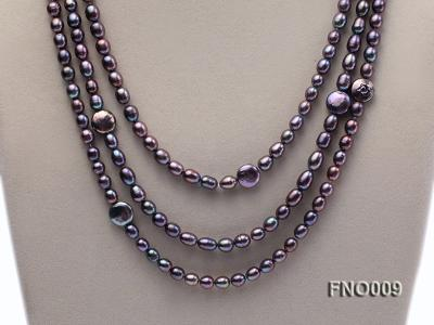 7-8mm black rice freshwater pearl with coin pearl necklace FNO009 Image 2