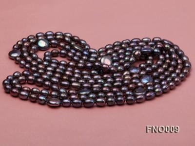 7-8mm black rice freshwater pearl with coin pearl necklace FNO009 Image 3
