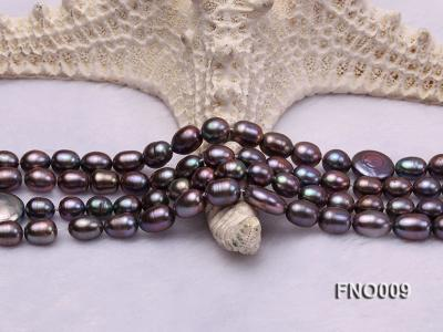 7-8mm black rice freshwater pearl with coin pearl necklace FNO009 Image 4