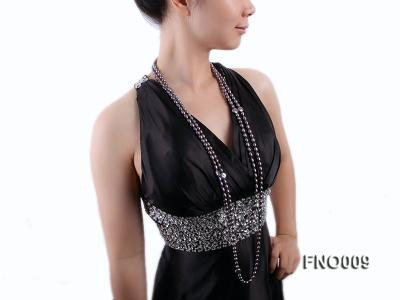 7-8mm black rice freshwater pearl with coin pearl necklace FNO009 Image 7