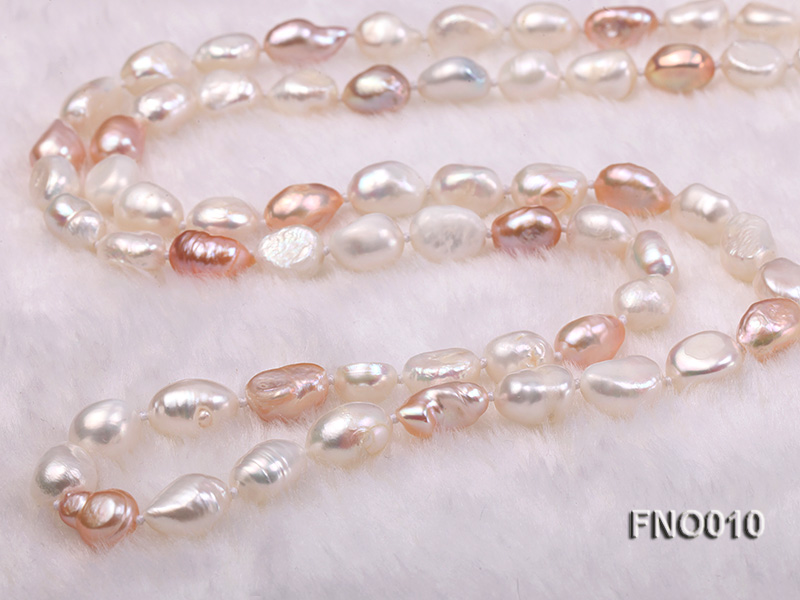 10x11mm white freshwater cultured pearl necklace big Image 6
