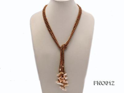 6-7mm coffee rice freshwater pearl with lavender biwa-shaped pearl necklace FNO012 Image 1