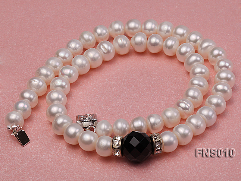 9-10mm natural white flat freshwater pearl with black gemstone necklace big Image 3
