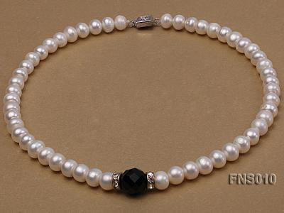 9-10mm natural white flat freshwater pearl with black gemstone necklace FNS010 Image 1