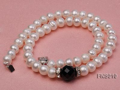 9-10mm natural white flat freshwater pearl with black gemstone necklace FNS010 Image 3
