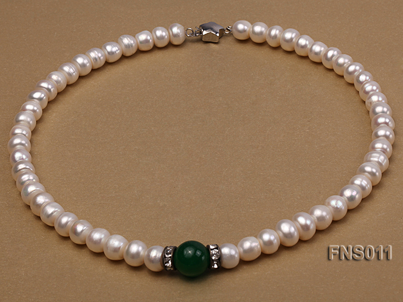 8-9mm natural white flat freswhater pearl with natural jade necklace big Image 1