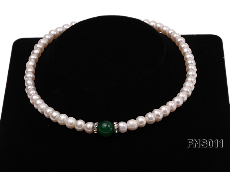 8-9mm natural white flat freswhater pearl with natural jade necklace big Image 2