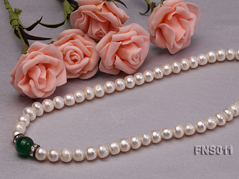 8-9mm natural white flat freswhater pearl with natural jade necklace big Image 3