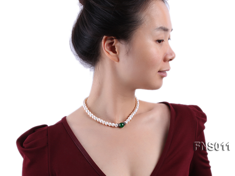 8-9mm natural white flat freswhater pearl with natural jade necklace big Image 5