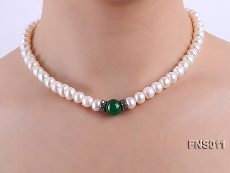 8-9mm natural white flat freswhater pearl with natural jade necklace big Image 6