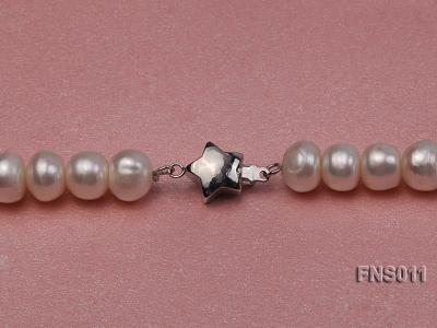 8-9mm natural white flat freswhater pearl with natural jade necklace FNS011 Image 4