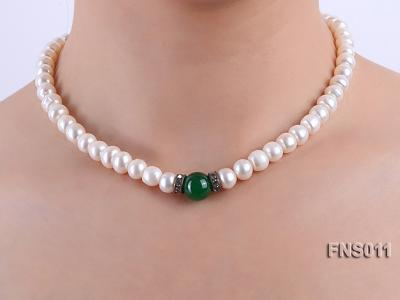 8-9mm natural white flat freswhater pearl with natural jade necklace FNS011 Image 6