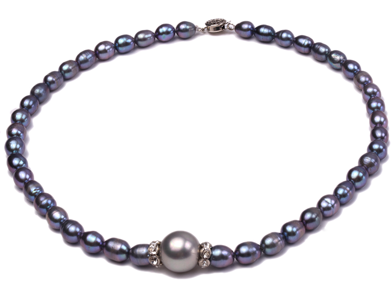 6-6.5mm black rice freshwater pearl necklace with black seashell beads big Image 1