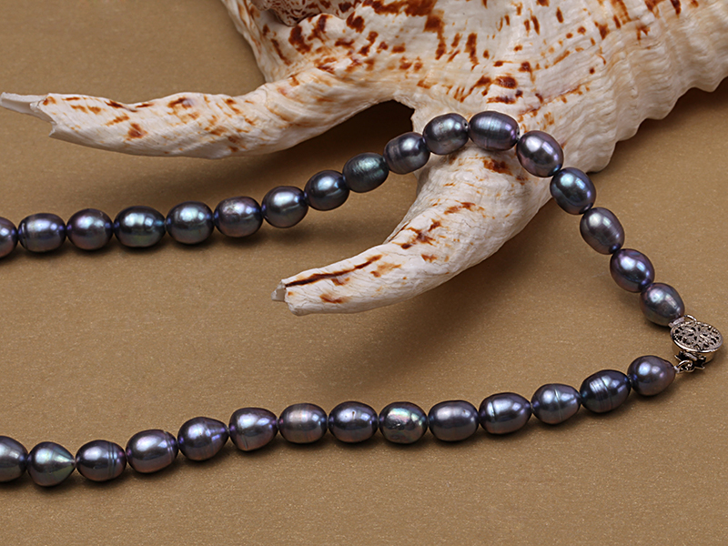 6-6.5mm black rice freshwater pearl necklace with black seashell beads big Image 2