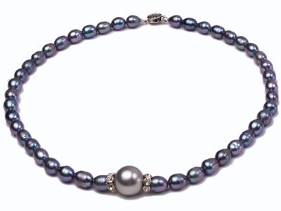 6-6.5mm black rice freshwater pearl necklace with black seashell beads FNS014 Image 1