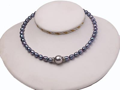 6-6.5mm black rice freshwater pearl necklace with black seashell beads FNS014 Image 3
