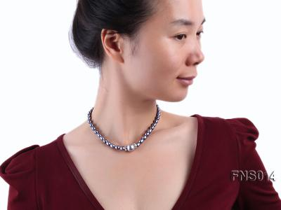 6-6.5mm black rice freshwater pearl necklace with black seashell beads FNS014 Image 5