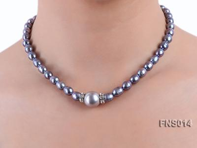 6-6.5mm black rice freshwater pearl necklace with black seashell beads FNS014 Image 6