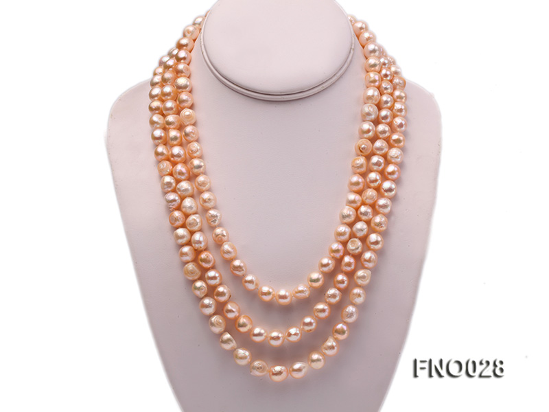 8*12mm natural pink baroque freshwater pearl necklace big Image 1