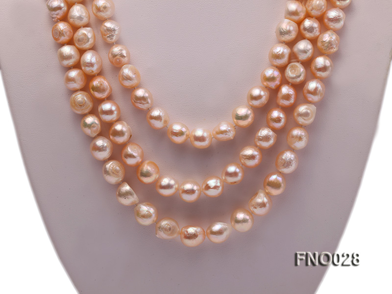 8*12mm natural pink baroque freshwater pearl necklace big Image 2