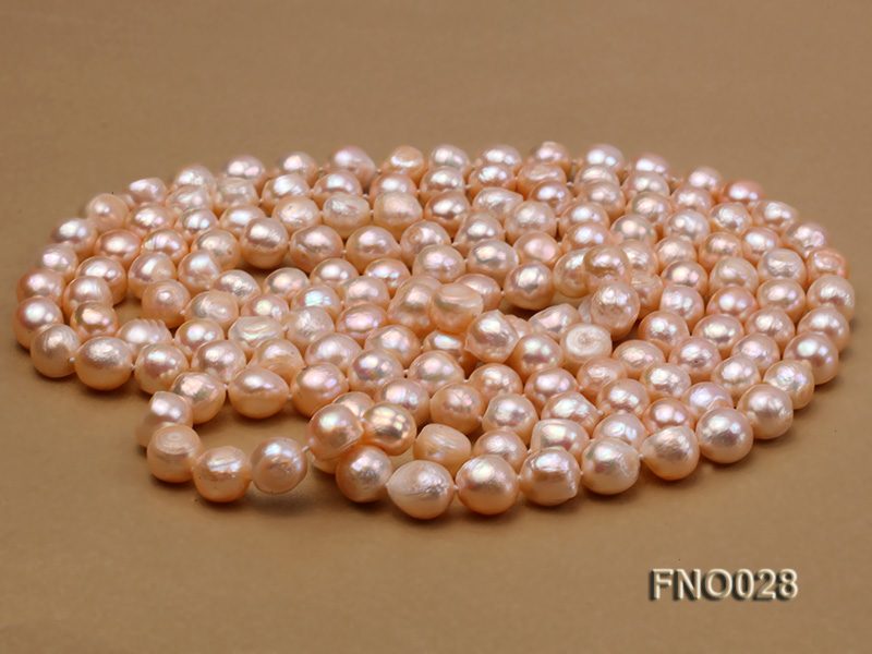 8*12mm natural pink baroque freshwater pearl necklace big Image 3