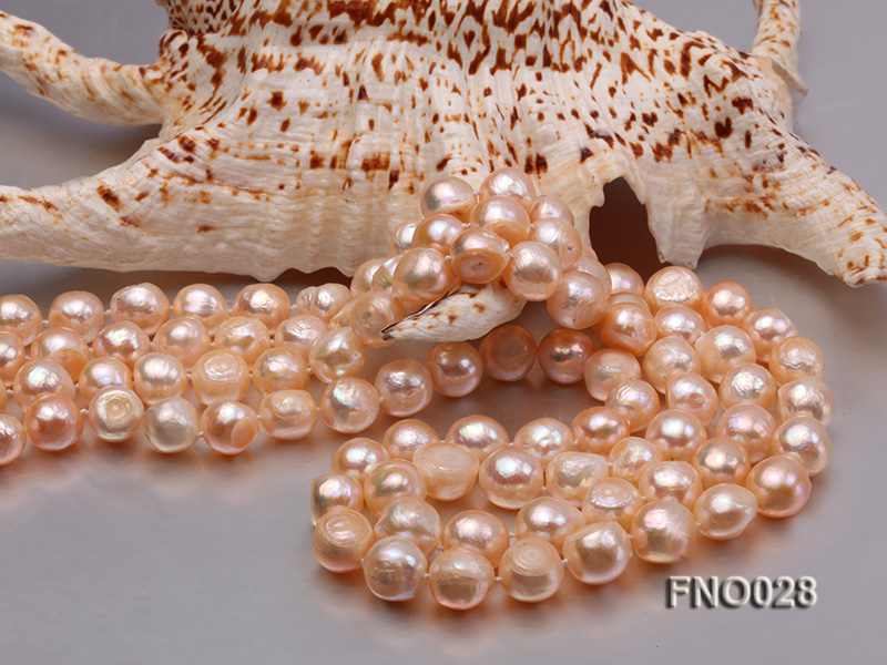 8*12mm natural pink baroque freshwater pearl necklace big Image 4