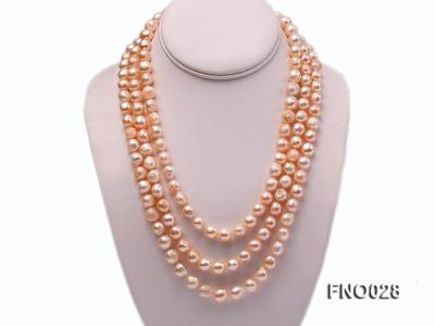 8*12mm natural pink baroque freshwater pearl necklace FNO028 Image 1