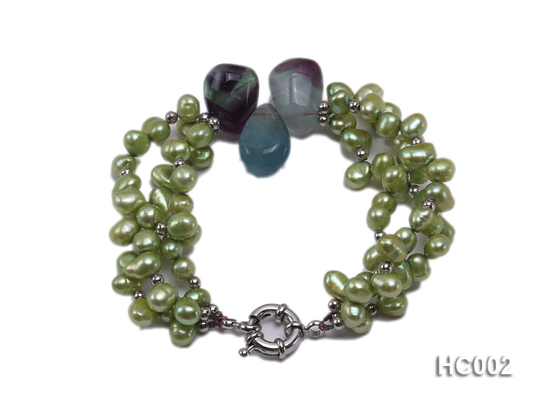 3 strand green freshwater pearl and crystal bracelet big Image 1