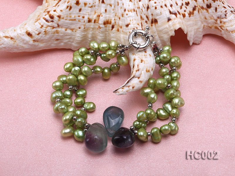 3 strand green freshwater pearl and crystal bracelet big Image 2