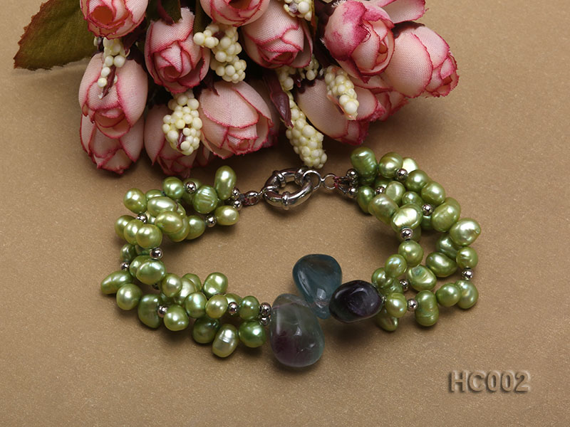 3 strand green freshwater pearl and crystal bracelet big Image 3