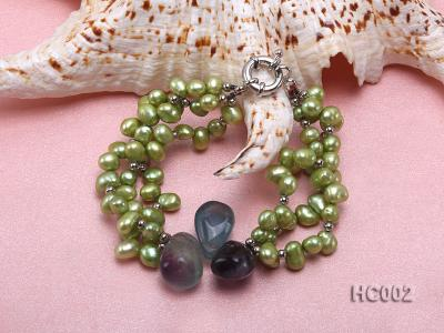 3 strand green freshwater pearl and crystal bracelet HC002 Image 2