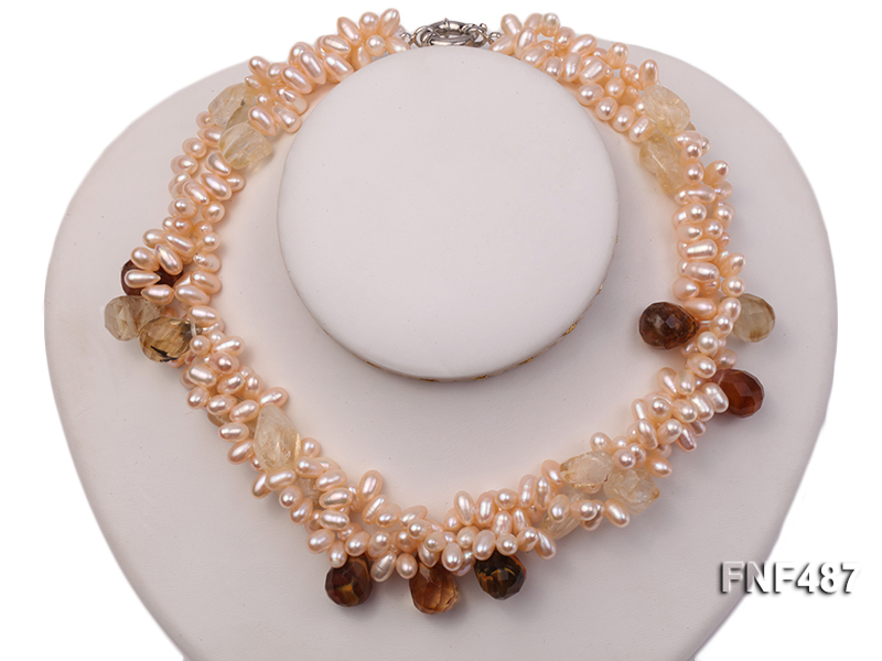 Three-strand 5x9mm Pink Freshwater Pearl Necklace with Crystal Beads big Image 2