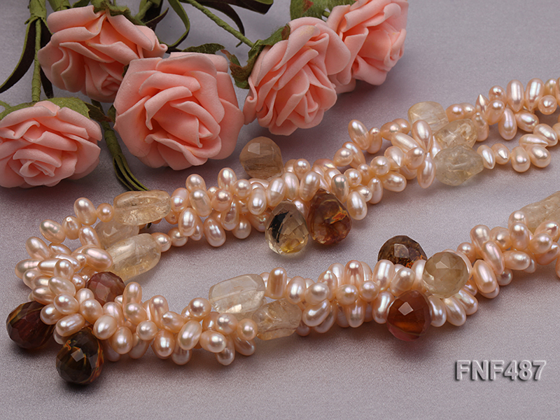 Three-strand 5x9mm Pink Freshwater Pearl Necklace with Crystal Beads big Image 5