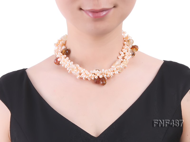 Three-strand 5x9mm Pink Freshwater Pearl Necklace with Crystal Beads big Image 4