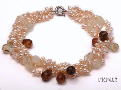 Three-strand 5x9mm Pink Freshwater Pearl Necklace with Crystal Beads FNF487 Image 1