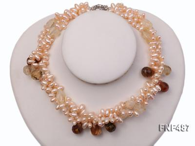 Three-strand 5x9mm Pink Freshwater Pearl Necklace with Crystal Beads FNF487 Image 2