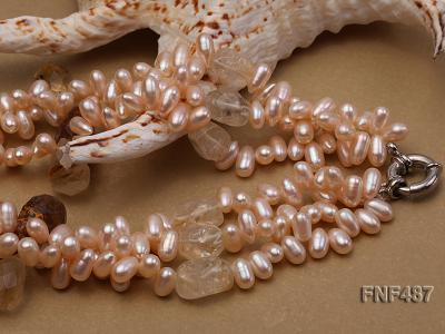 Three-strand 5x9mm Pink Freshwater Pearl Necklace with Crystal Beads FNF487 Image 3