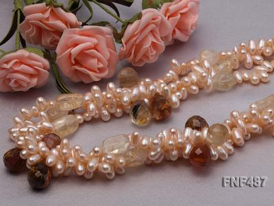 Three-strand 5x9mm Pink Freshwater Pearl Necklace with Crystal Beads FNF487 Image 5
