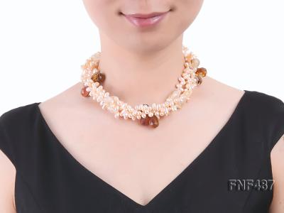 Three-strand 5x9mm Pink Freshwater Pearl Necklace with Crystal Beads FNF487 Image 4