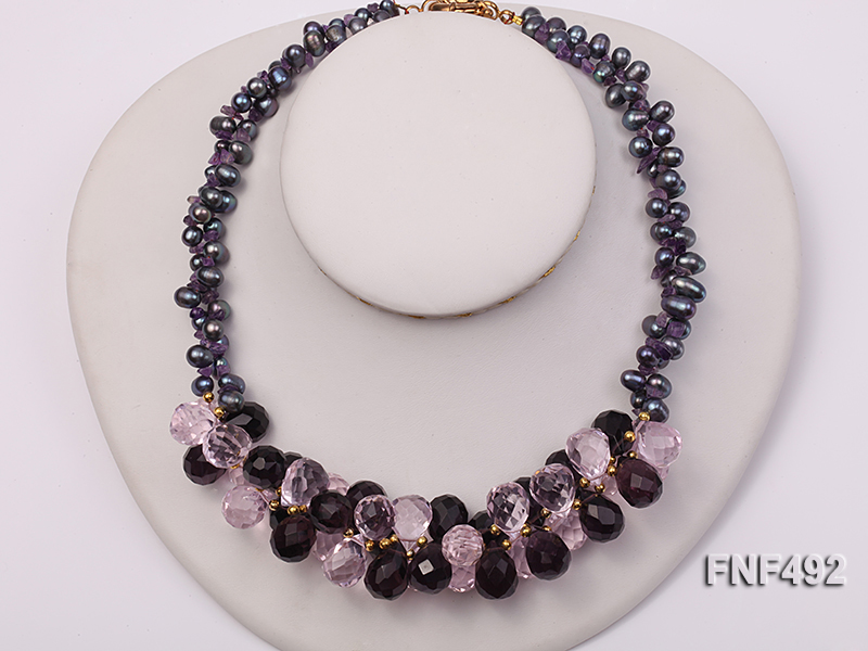 Two-strand 7-8mm Black Freshwater Pearl and Drop-shaped Crystal Beads Necklace big Image 2