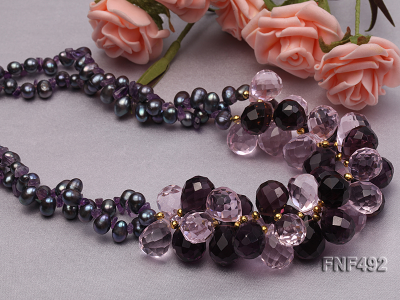 Two-strand 7-8mm Black Freshwater Pearl and Drop-shaped Crystal Beads Necklace big Image 4
