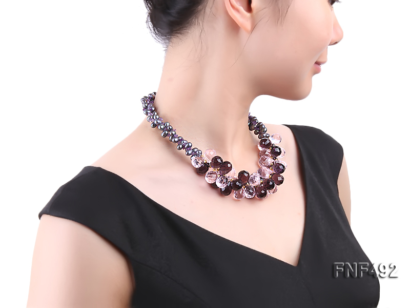 Two-strand 7-8mm Black Freshwater Pearl and Drop-shaped Crystal Beads Necklace big Image 7