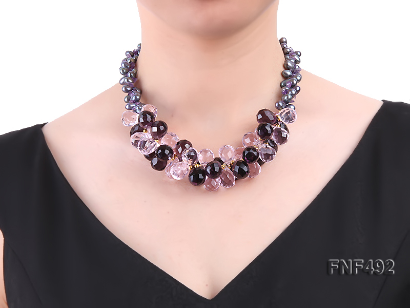 Two-strand 7-8mm Black Freshwater Pearl and Drop-shaped Crystal Beads Necklace big Image 3