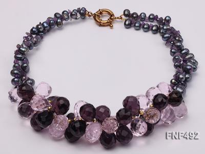 Two-strand 7-8mm Black Freshwater Pearl and Drop-shaped Crystal Beads Necklace FNF492 Image 1