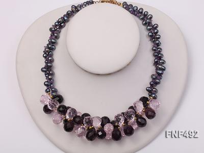 Two-strand 7-8mm Black Freshwater Pearl and Drop-shaped Crystal Beads Necklace FNF492 Image 2