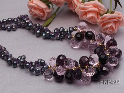 Two-strand 7-8mm Black Freshwater Pearl and Drop-shaped Crystal Beads Necklace FNF492 Image 4