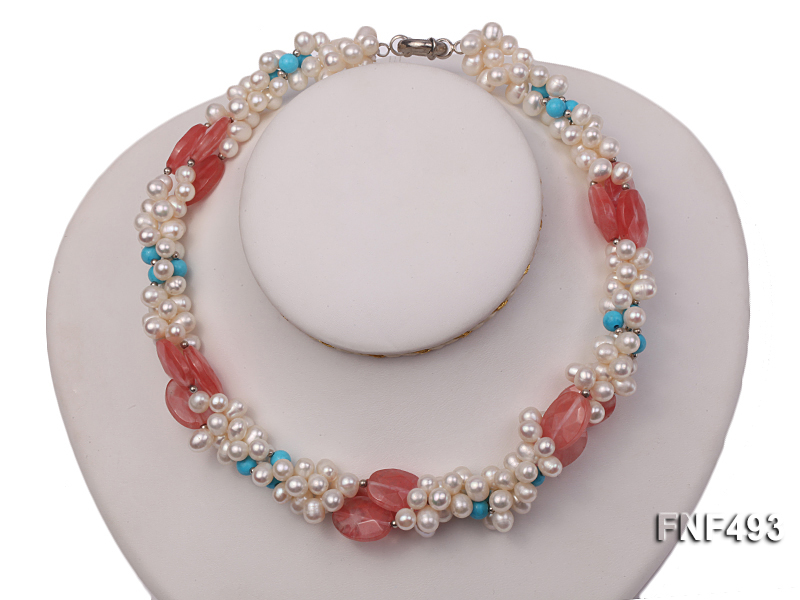 Three-strand 6-7mm White Freshwater Pearl Necklace Dotted with Pink Crystals and Turquoise Beads big Image 1