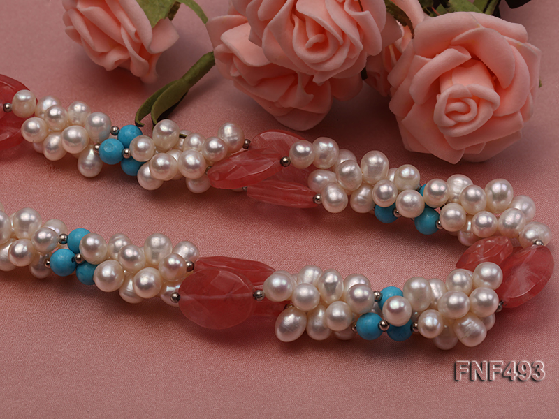 Three-strand 6-7mm White Freshwater Pearl Necklace Dotted with Pink Crystals and Turquoise Beads big Image 4