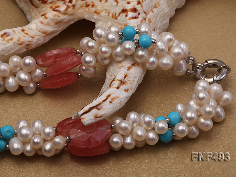 Three-strand 6-7mm White Freshwater Pearl Necklace Dotted with Pink Crystals and Turquoise Beads big Image 5