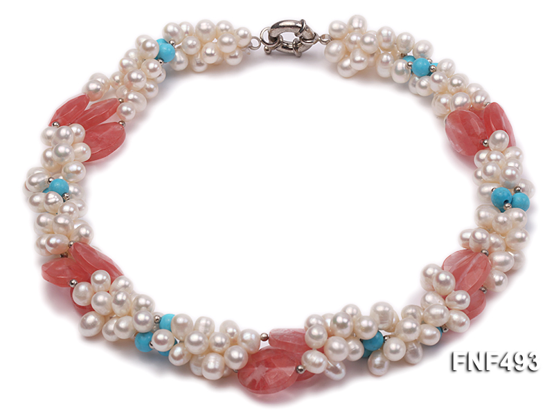 Three-strand 6-7mm White Freshwater Pearl Necklace Dotted with Pink Crystals and Turquoise Beads big Image 2